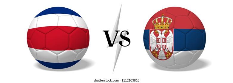 3D illustration/ 3D rendering - Soccer championship - Costa Rica vs Serbia