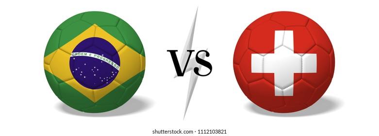 3D illustration/ 3D rendering - Soccer championship - Brazil vs Switzerland