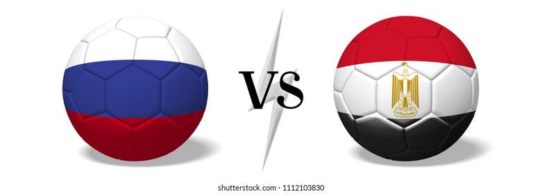 3D illustration/ 3D rendering - Soccer championship - Russia vs Egypt
