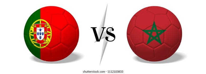 3D illustration/ 3D rendering - Soccer championship - Portugal vs Morocco