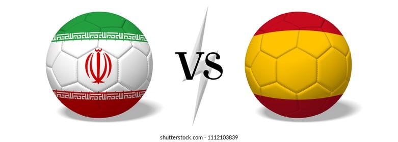 3D illustration/ 3D rendering - Soccer championship - Iran vs Spain