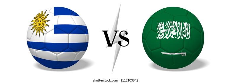 3D illustration/ 3D rendering - Soccer championship - Uruguay vs Saudi Arabia