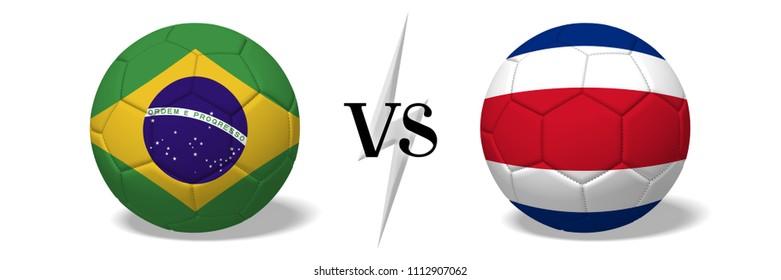 3D illustration/ 3D rendering - Soccer championship - Brazil vs Costra Rica