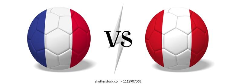 3D illustration/ 3D rendering - Soccer championship - France vs Peru