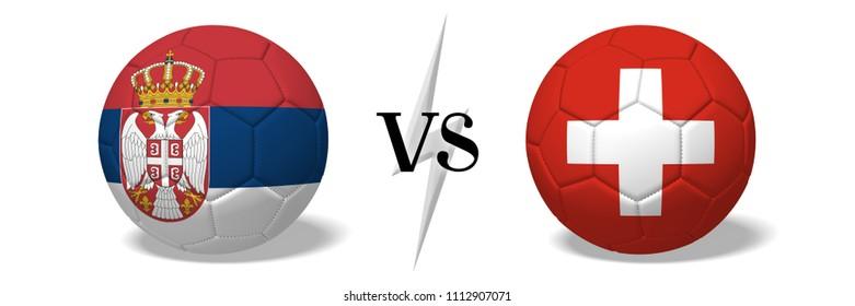3D illustration/ 3D rendering - Soccer championship - Serbia vs Switzerland