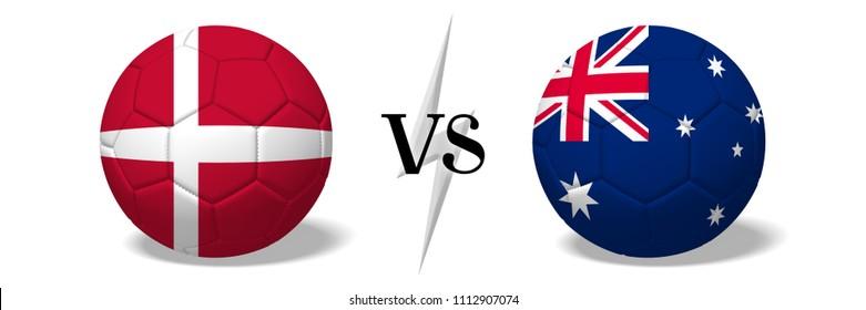 3D illustration/ 3D rendering - Soccer championship - Denmark vs Australia