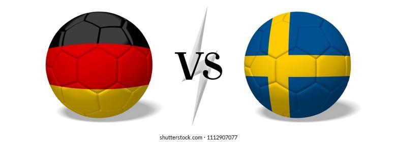 3D illustration/ 3D rendering - Soccer championship - Germany vs Sweden