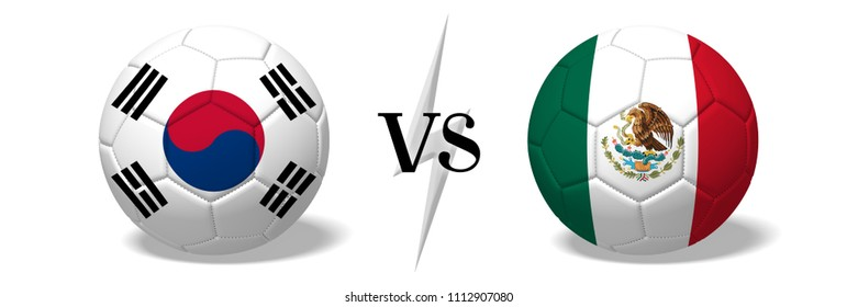 3D illustration/ 3D rendering - Soccer championship - South Korea vs Mexico