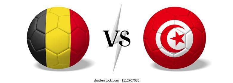 3D illustration/ 3D rendering - Soccer championship - Belgium vs Tunisia