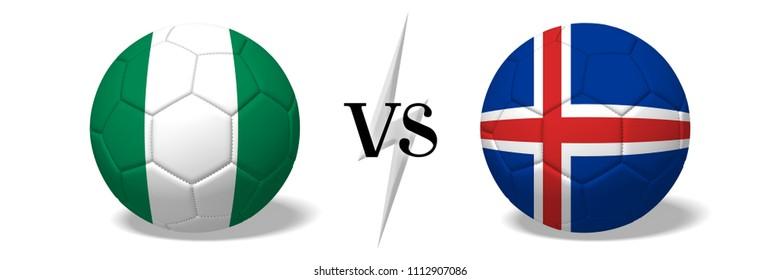 3D illustration/ 3D rendering - Soccer championship - Nigeria vs Iceland
