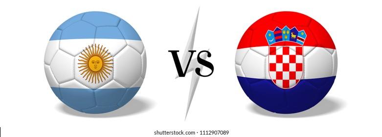 3D illustration/ 3D rendering - Soccer championship - Argentina vs Croatia