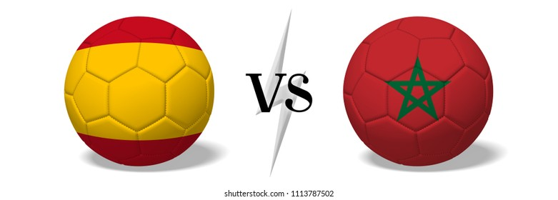 3D illustration/ 3D rendering - Soccer championship - Spain vs Morocco