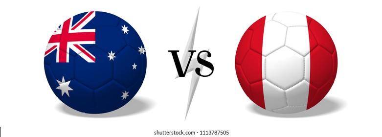 3D illustration/ 3D rendering - Soccer championship - Australia vs Peru