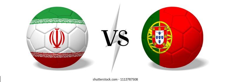 3D illustration/ 3D rendering - Soccer championship - Iran vs Portugal