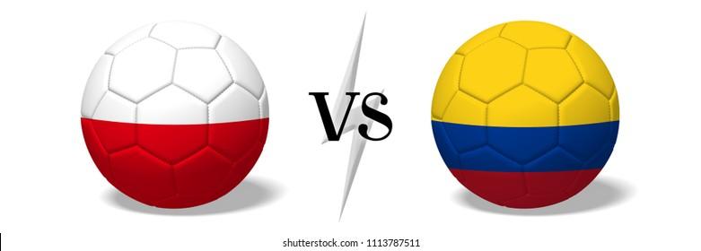 3D illustration/ 3D rendering - Soccer championship - Poland vs Colombia