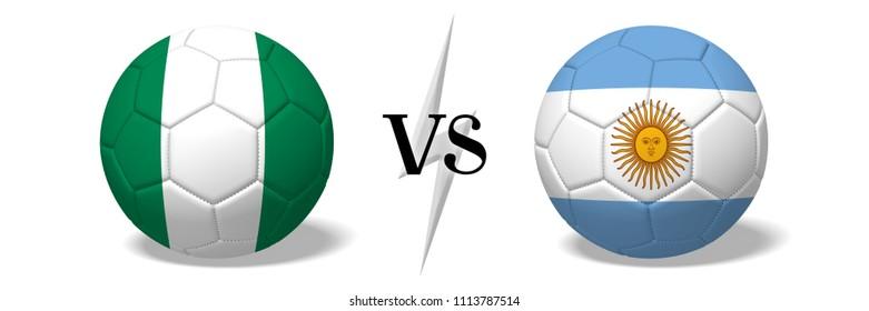 3D illustration/ 3D rendering - Soccer championship - Nigeria vs Argentina