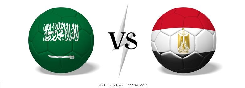 3D illustration/ 3D rendering - Soccer championship - Saudi Arabia vs Egypt