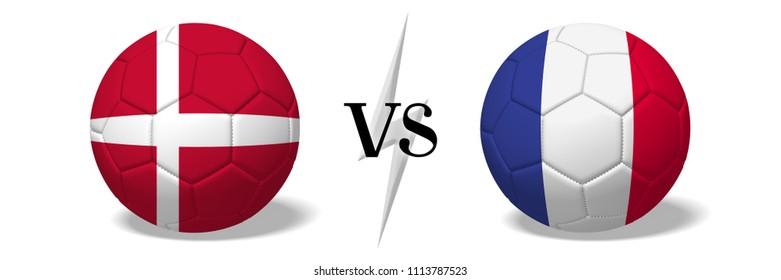 3D illustration/ 3D rendering - Soccer championship - Denmark vs France