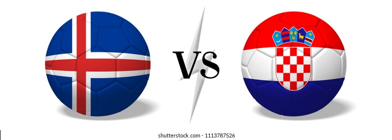 3D illustration/ 3D rendering - Soccer championship - Iceland vs Croatia