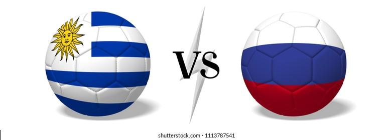 3D illustration/ 3D rendering - Soccer championship - Uruguay vs Russia