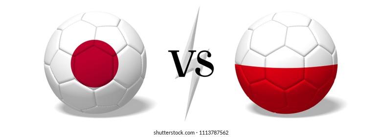 3D illustration/ 3D rendering - Soccer championship - Japan vs Poland