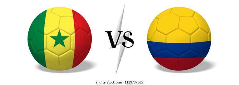 3D illustration/ 3D rendering - Soccer championship - Senegal vs Colombia