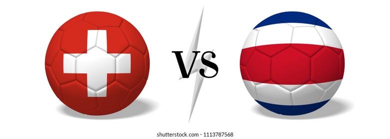 3D illustration/ 3D rendering - Soccer championship - Switzerland vs Costa Rica