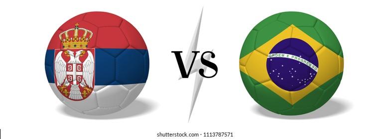 3D illustration/ 3D rendering - Soccer championship - Serbia vs Brazil