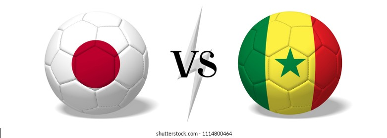 3D illustration/ 3D rendering - Soccer championship - Japan vs Senegal