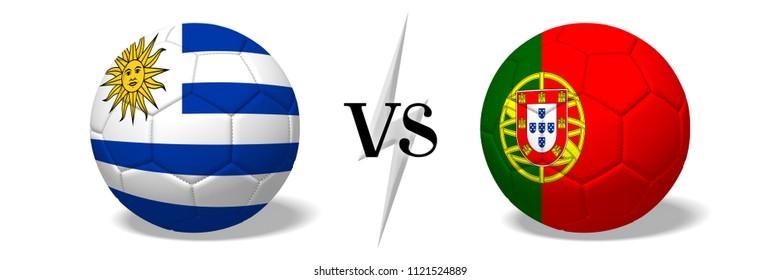 3D illustration/ 3D rendering - Soccer championship - Uruguay vs Portugal