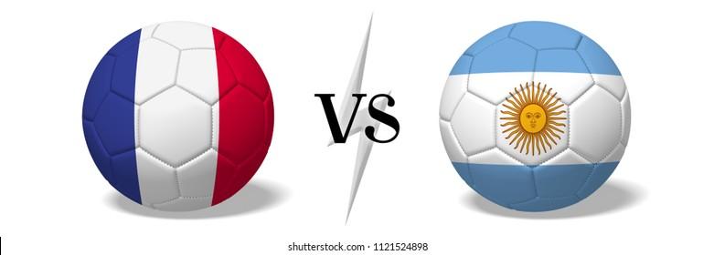 3D illustration/ 3D rendering - Soccer championship - France vs Argentina