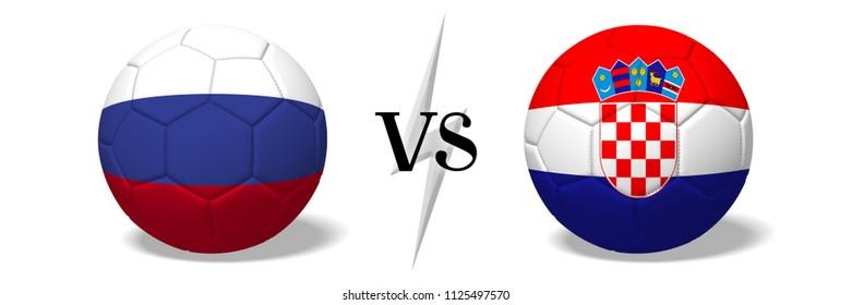 3D illustration/ 3D rendering - Soccerball concept - Russia vs Croatia