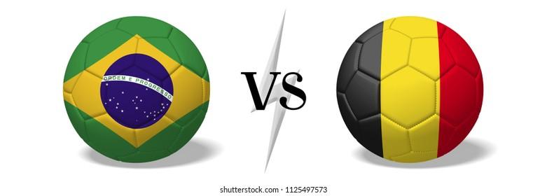 3D illustration/ 3D rendering - Soccerball concept - Brazil vs Belgium