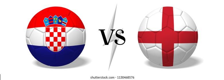 3D illustration/ 3D rendering - Soccerball concept - Croatia vs England