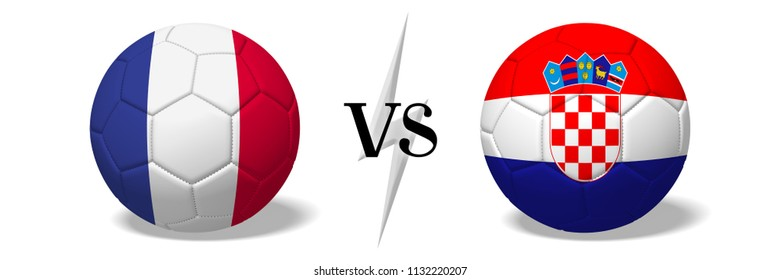 3D illustration/ 3D rendering - Soccerball concept - France vs Croatia