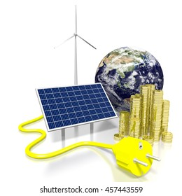 3D illustration/ 3D rendering - solar energy concept. Elements of this image furnished by NASA.