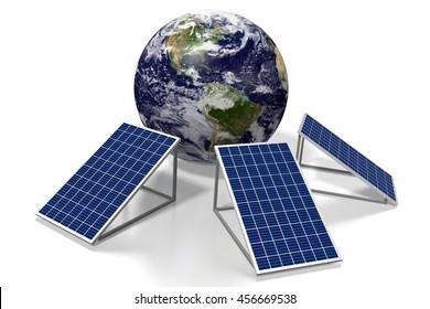 3D illustration/ 3D rendering - solar panels concept.