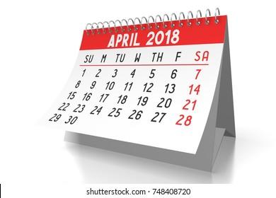 3D illustration/ 3D rendering - table calendar 2018 - April