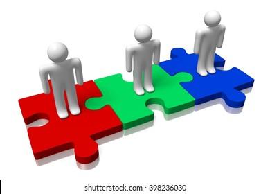 3D illustration/ 3D rendering - teamwork/ cooperation concept.