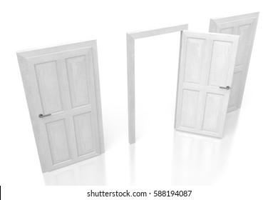 3D illustration/ 3D rendering - three doors concept.
