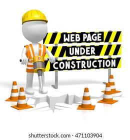 3D illustration/ 3D rendering - webpage under construction.
