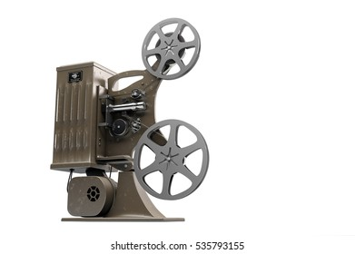 3D illustration of retro movie projector isolated on white right side view