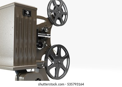 3D illustration of retro movie projector isolated on white back side view