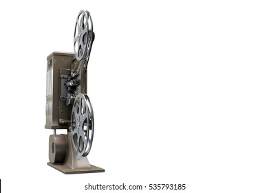 3D illustration of retro movie projector isolated on white front view