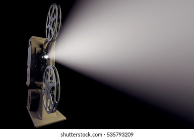 3D illustration of retro movie projector with light beam isolated on black frontal
