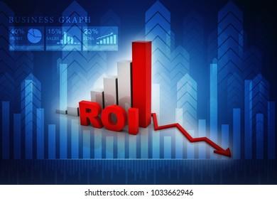 3d illustration Return on investment chart