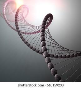 3D Illustration of ribonucleic acid or dna strand