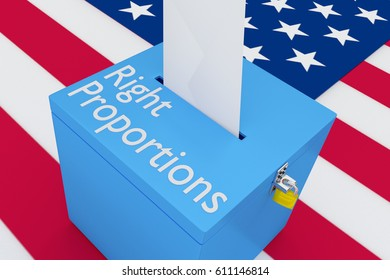 """3D illustration of """"Right Proportions"""" script on a ballot box, with US flag as a background."""
