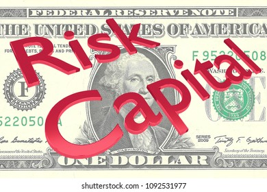 3D illustration of Risk Capital title on a Dollar bill as a background
