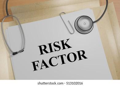 "3D illustration of ""RISK FACTOR"" title on a document"
